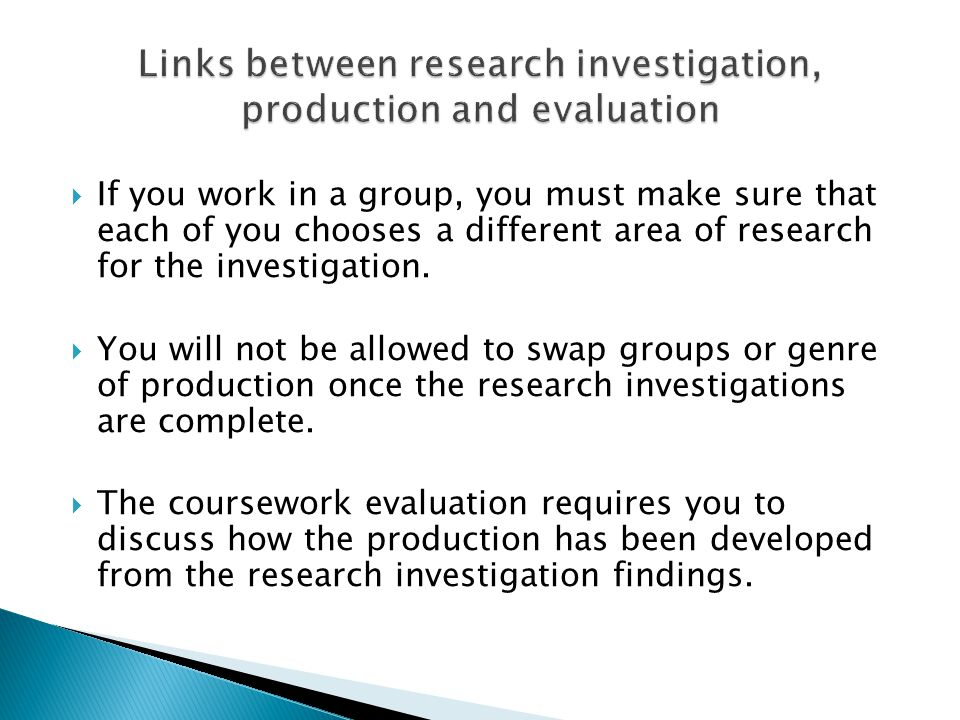  If you work in a group, you must make sure that each of you chooses a different area of research for the investigation.