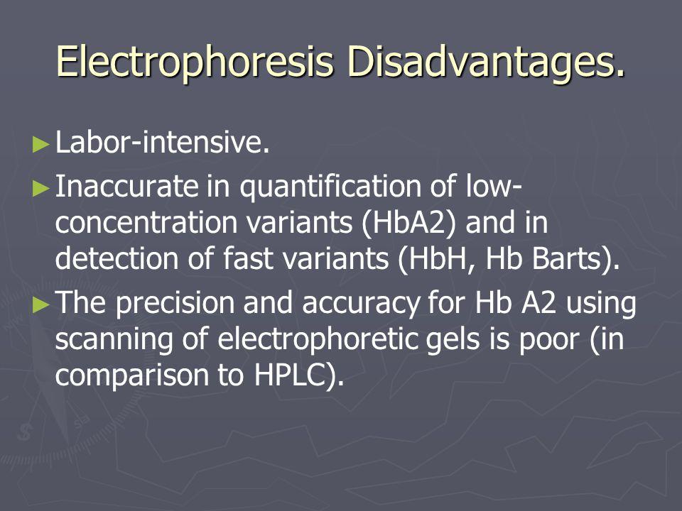 Electrophoresis Disadvantages. ► ► Labor-intensive.