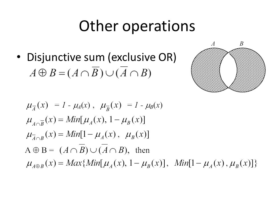Other operations Disjunctive sum (exclusive OR)