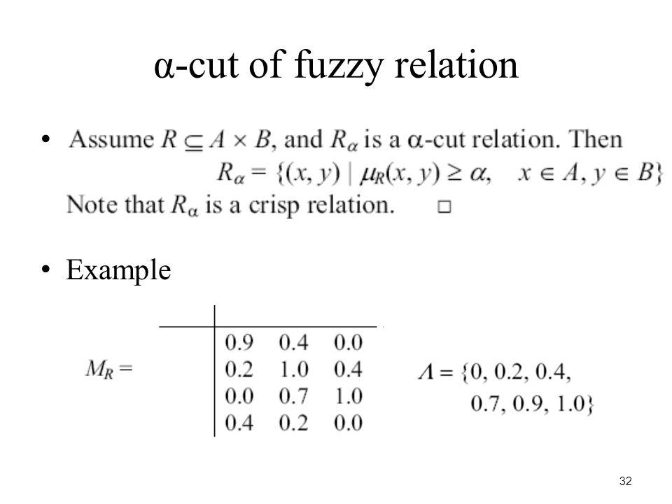 32 α-cut of fuzzy relation Example