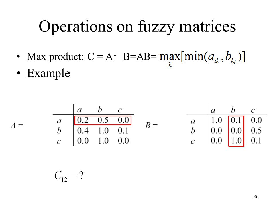 35 Operations on fuzzy matrices Max product: C = A ・ B=AB= Example