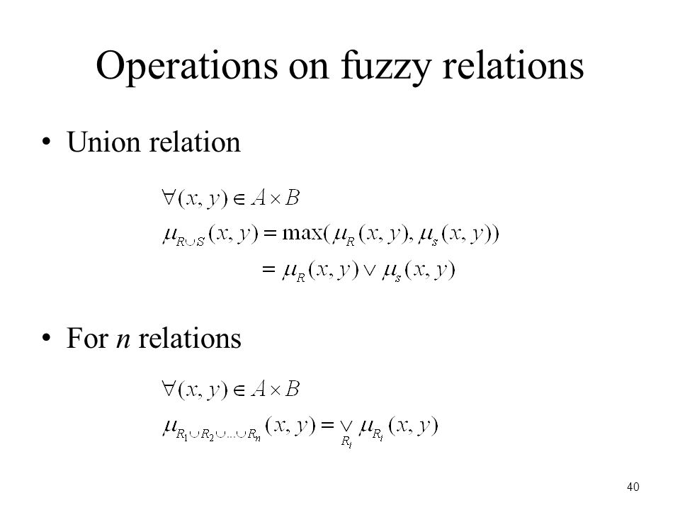 40 Operations on fuzzy relations Union relation For n relations