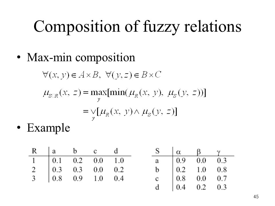 45 Composition of fuzzy relations Max-min composition Example