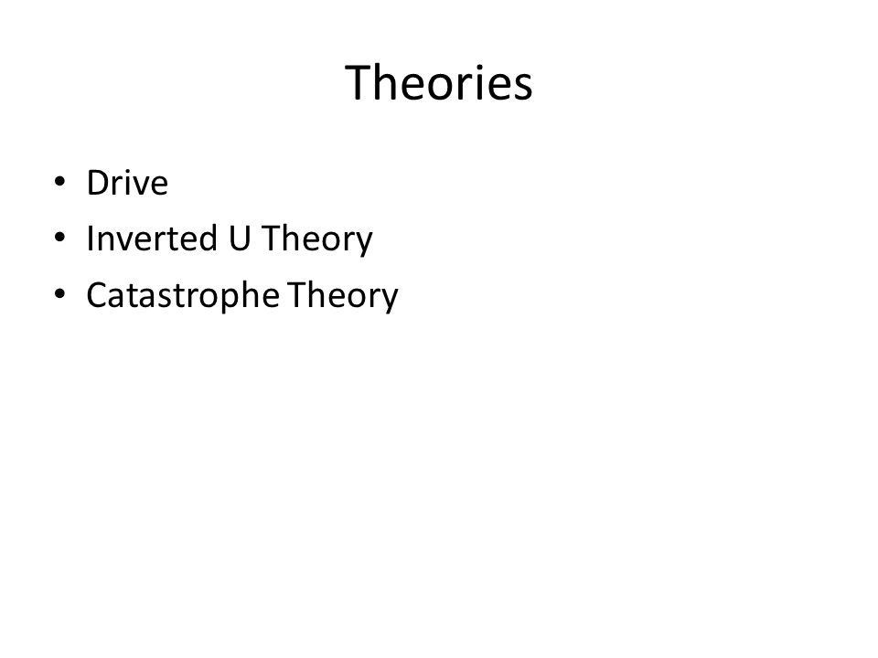 Theories Drive Inverted U Theory Catastrophe Theory