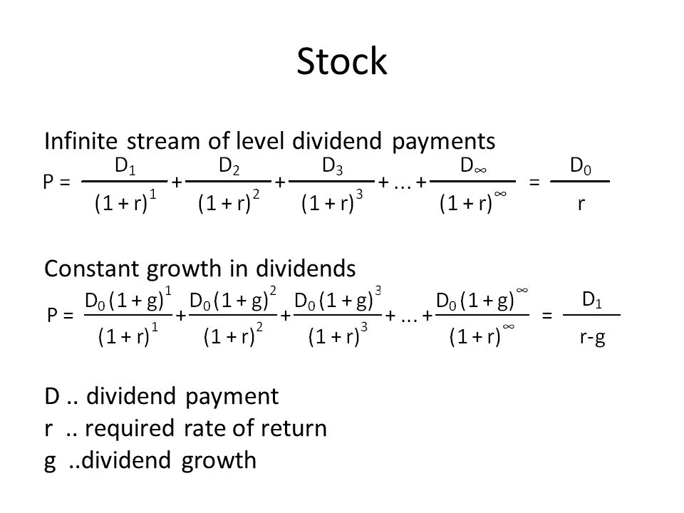 Stock Infinite stream of level dividend payments Constant growth in dividends D..
