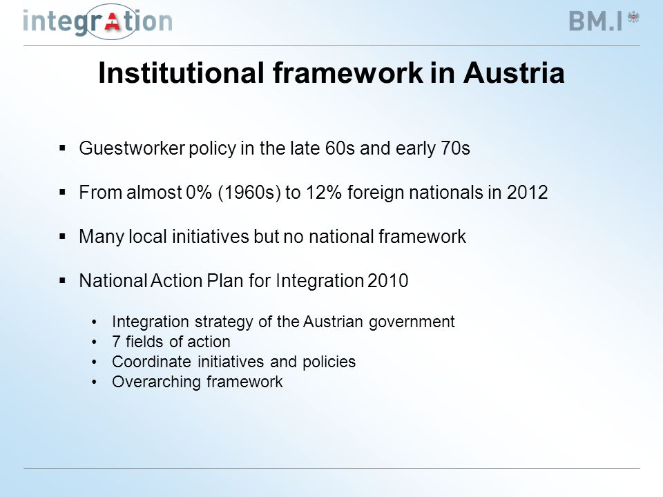 Institutional framework in Austria  Guestworker policy in the late 60s and early 70s  From almost 0% (1960s) to 12% foreign nationals in 2012  Many local initiatives but no national framework  National Action Plan for Integration 2010 Integration strategy of the Austrian government 7 fields of action Coordinate initiatives and policies Overarching framework
