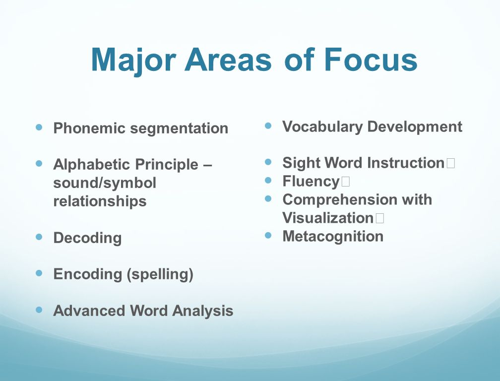 Major Areas of Focus Phonemic segmentation Alphabetic Principle – sound/symbol relationships Decoding Encoding (spelling) Advanced Word Analysis Vocabulary Development Sight Word Instruction Fluency Comprehension with Visualization Metacognition