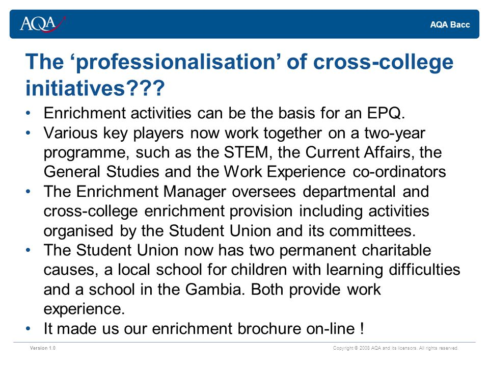 AQA Bacc The 'professionalisation' of cross-college initiatives .