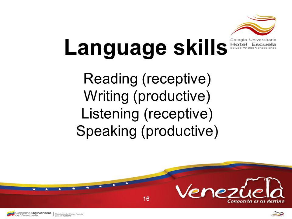 16 Language skills Reading (receptive) Writing (productive) Listening (receptive) Speaking (productive)