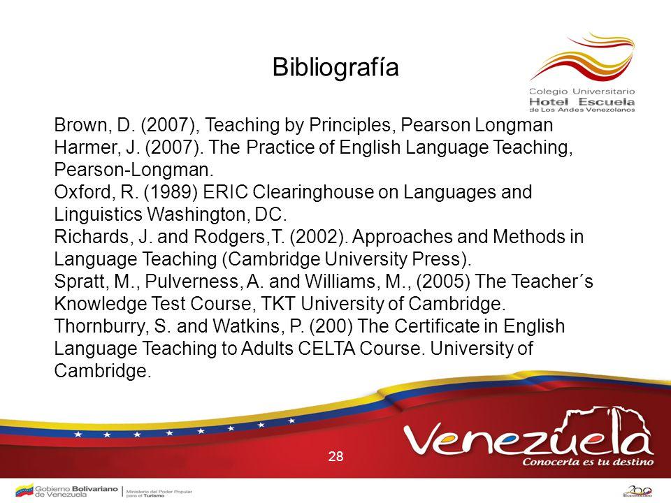 28 Bibliografía Brown, D. (2007), Teaching by Principles, Pearson Longman Harmer, J.