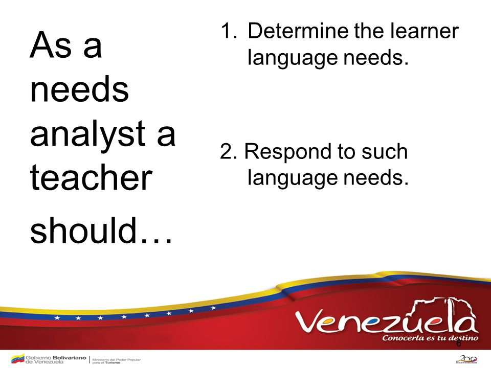 1.Determine the learner language needs. 2. Respond to such language needs.