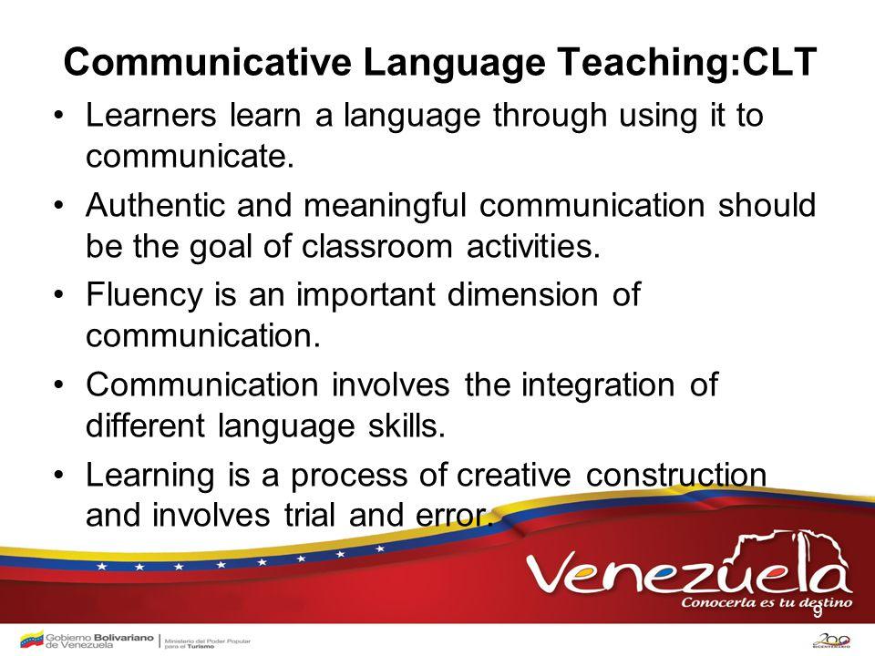 Communicative Language Teaching:CLT Learners learn a language through using it to communicate.