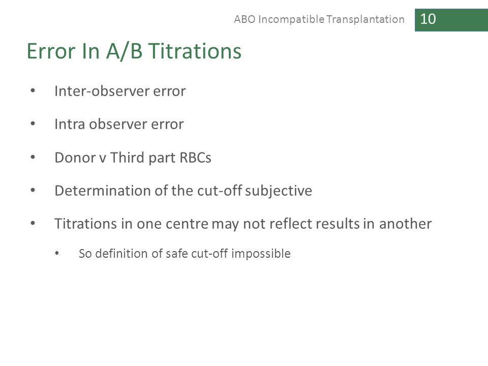 10 ABO Incompatible Transplantation Error In A/B Titrations Inter-observer error Intra observer error Donor v Third part RBCs Determination of the cut