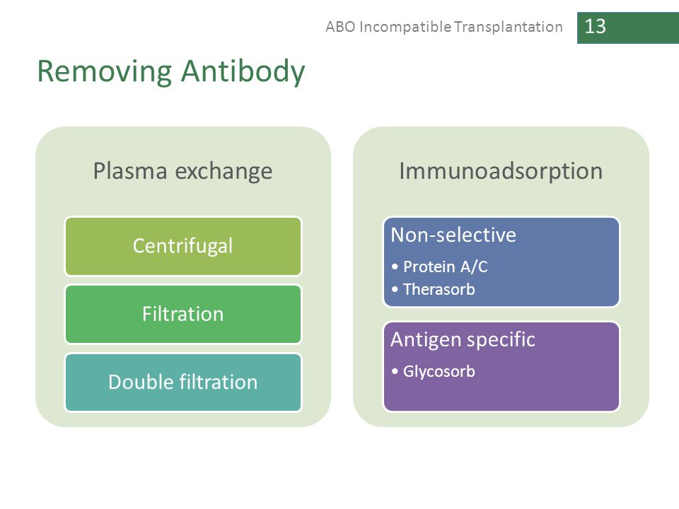 13 ABO Incompatible Transplantation Removing Antibody Plasma exchange CentrifugalFiltrationDouble filtration Immunoadsorption Non-selective Protein A/