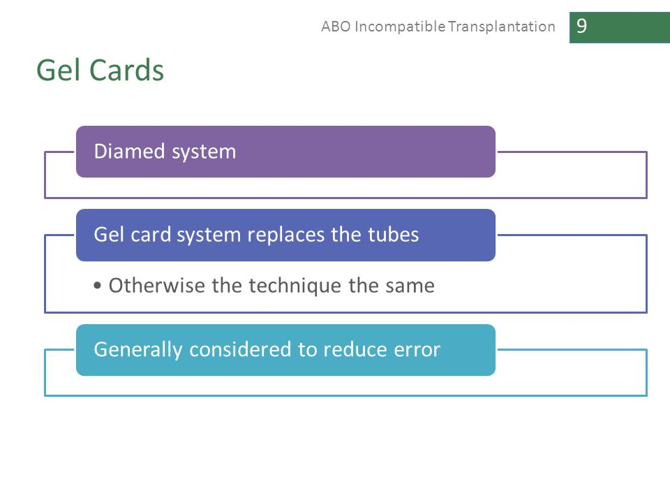 9 ABO Incompatible Transplantation Gel Cards Diamed system Otherwise the technique the same Gel card system replaces the tubesGenerally considered to