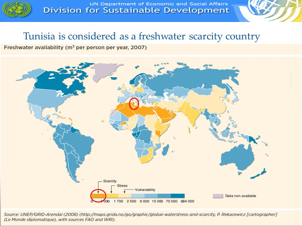 Tunisia is considered as a freshwater scarcity country
