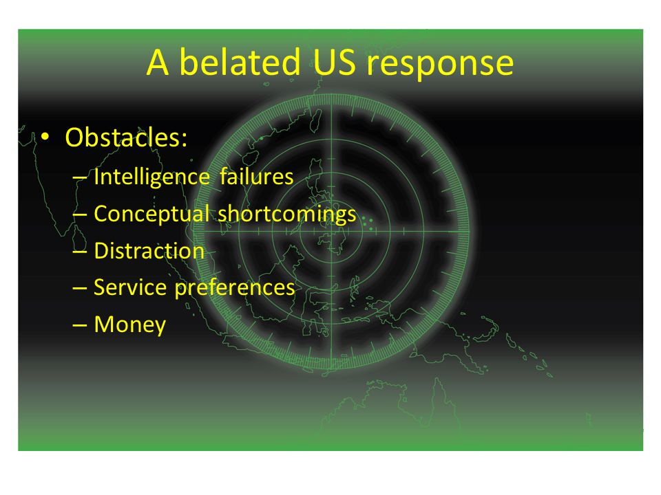 A belated US response Obstacles: – Intelligence failures – Conceptual shortcomings – Distraction – Service preferences – Money