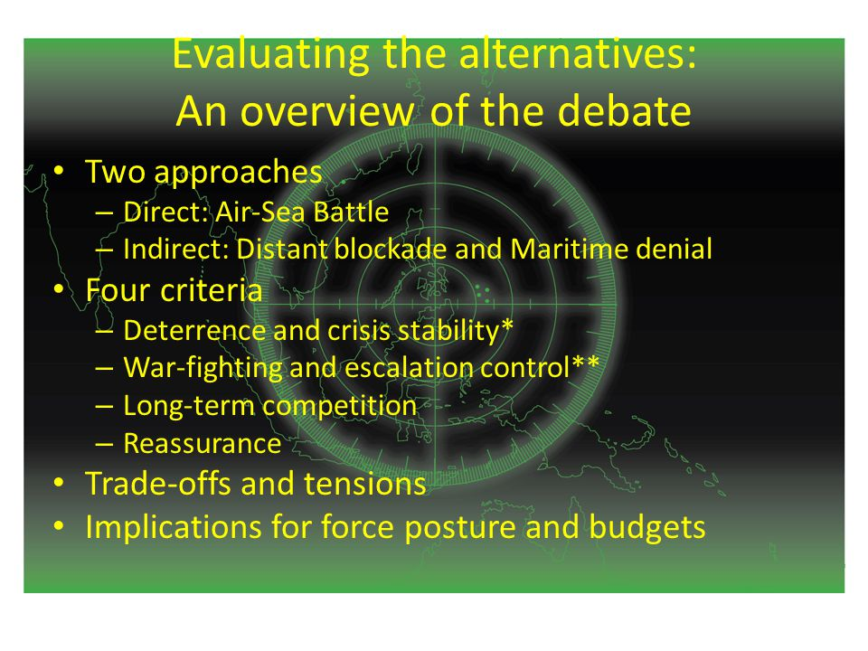 Evaluating the alternatives: An overview of the debate Two approaches – Direct: Air-Sea Battle – Indirect: Distant blockade and Maritime denial Four criteria – Deterrence and crisis stability* – War-fighting and escalation control** – Long-term competition – Reassurance Trade-offs and tensions Implications for force posture and budgets