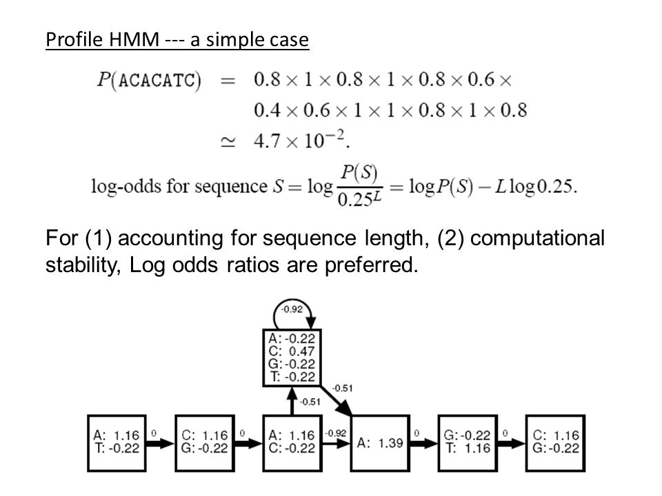 Profile HMM --- a simple case For (1) accounting for sequence length, (2) computational stability, Log odds ratios are preferred.