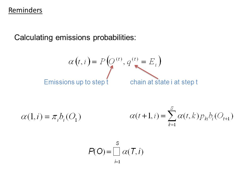 Reminders Calculating emissions probabilities: Emissions up to step t chain at state i at step t