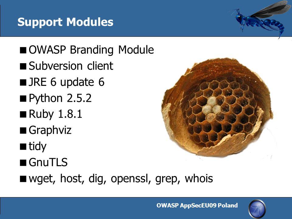 OWASP AppSecEU09 Poland 16 Support Modules  OWASP Branding Module  Subversion client  JRE 6 update 6  Python 2.5.2  Ruby 1.8.1  Graphviz  tidy