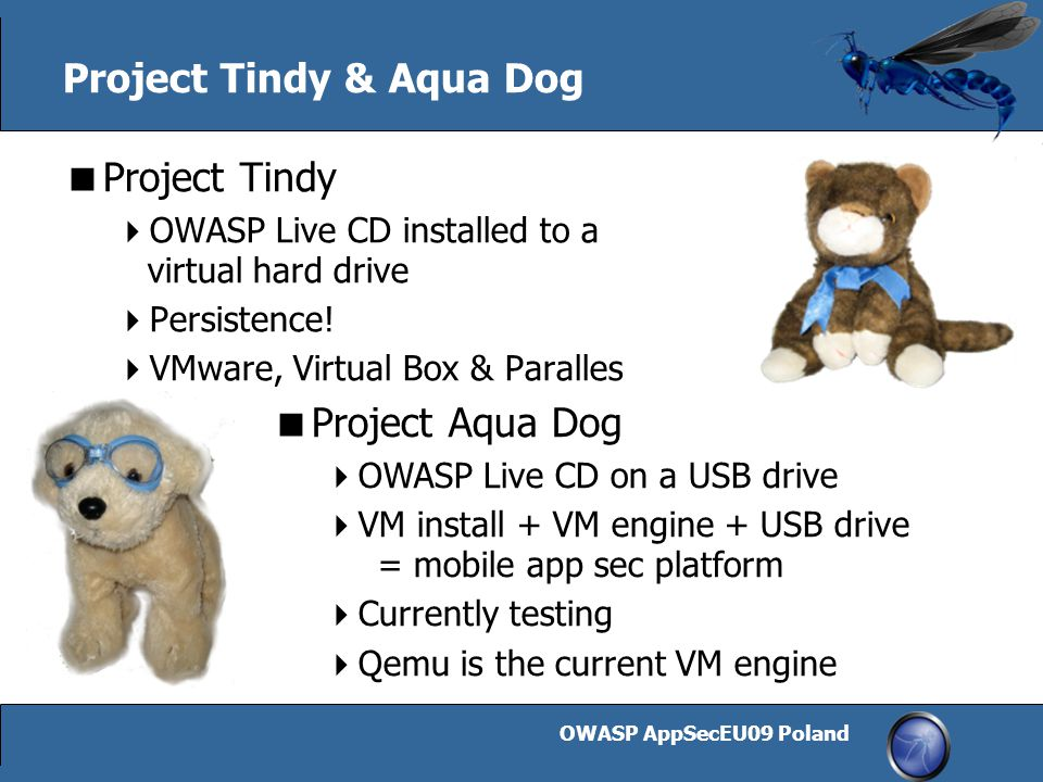 OWASP AppSecEU09 Poland 19 Project Tindy & Aqua Dog  Project Tindy  OWASP Live CD installed to a virtual hard drive  Persistence!  VMware, Virtual