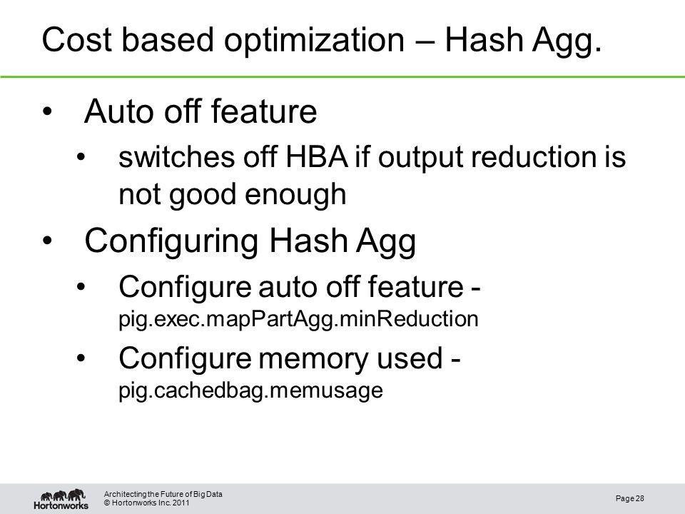 © Hortonworks Inc. 2011 Cost based optimization – Hash Agg.