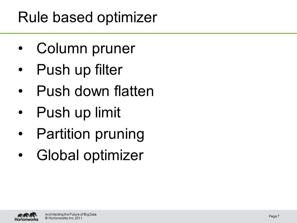 © Hortonworks Inc.2011 Cost based optimization – Hash Agg.