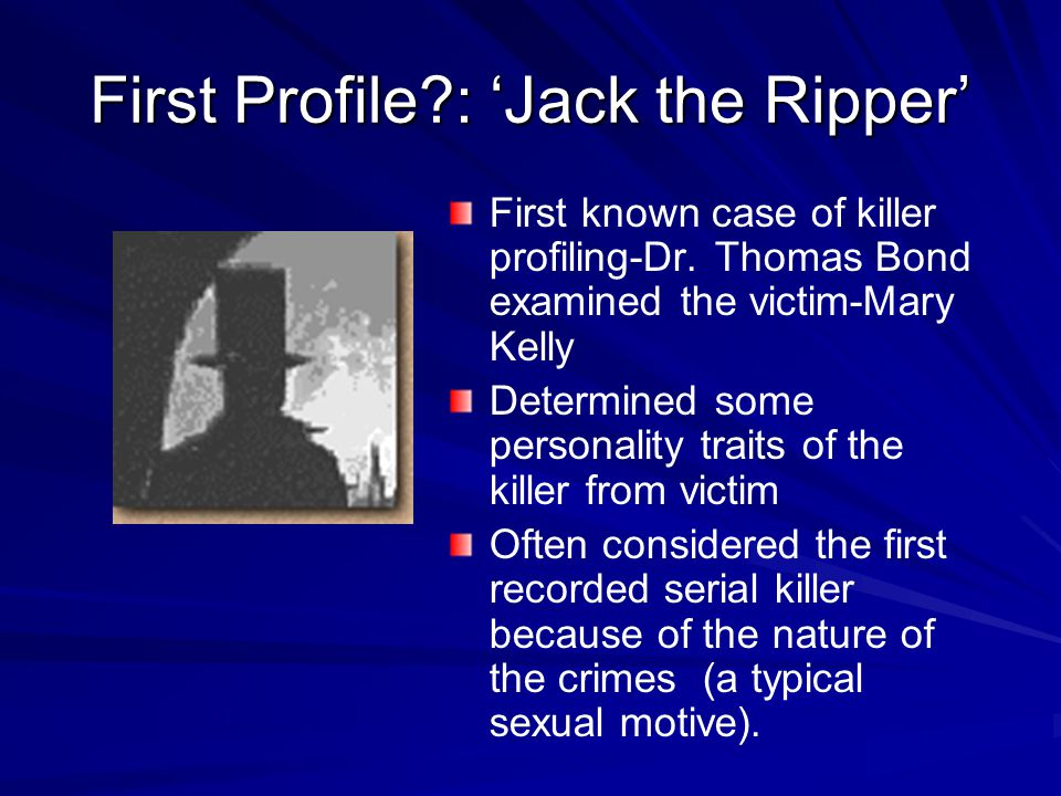 Profiling Copson (1995) police need 4 types of information from profilers: – –The type of person who committed the crime – –How great a threat they pose in the future – –The possibility the case is linked to others – –How the police should interview the suspects; what strategies they should use.
