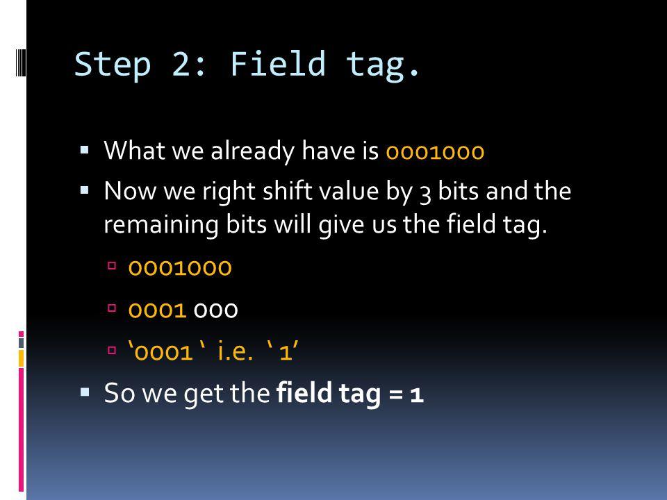 Step 2: Field tag.