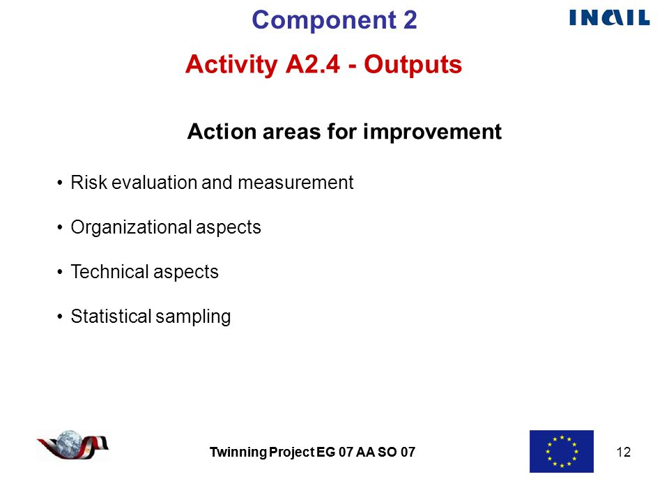 Twinning Project EG 07 AA SO 07 12 Twinning Project EG 07 AA SO 07 Component 2 Activity A2.4 - Outputs Action areas for improvement Risk evaluation and measurement Organizational aspects Technical aspects Statistical sampling