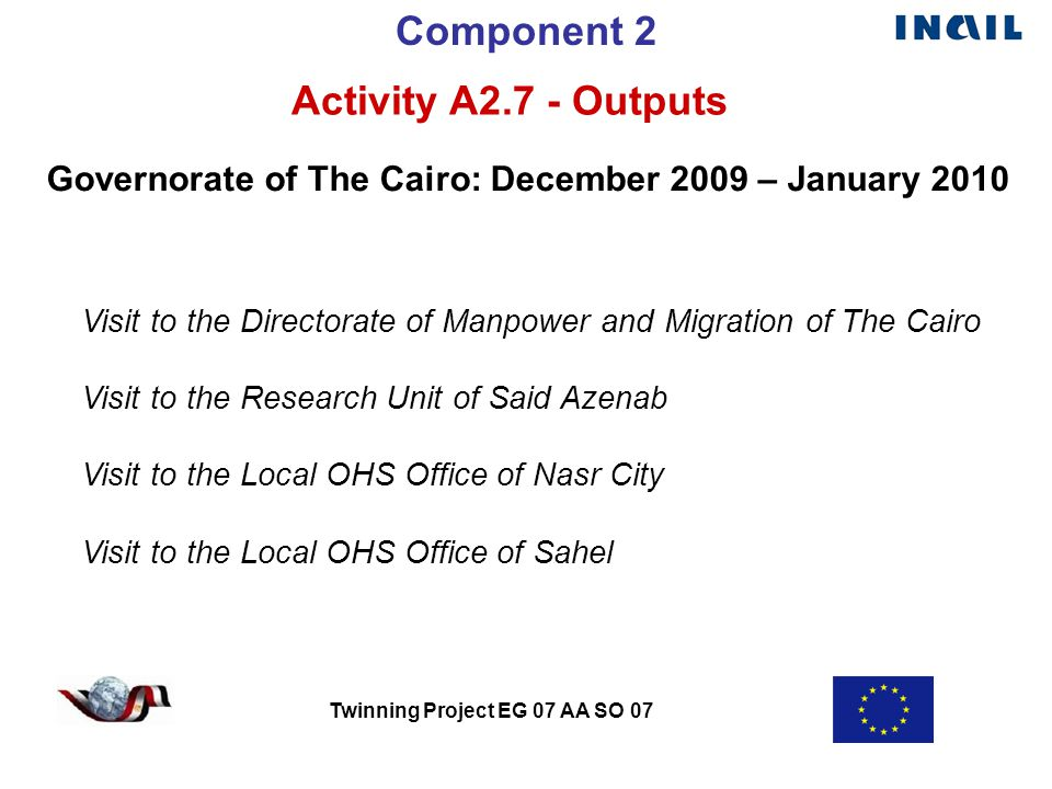 Twinning Project EG 07 AA SO 07 Component 2 Activity A2.7 - Outputs Governorate of The Cairo: December 2009 – January 2010 Visit to the Directorate of Manpower and Migration of The Cairo Visit to the Research Unit of Said Azenab Visit to the Local OHS Office of Nasr City Visit to the Local OHS Office of Sahel