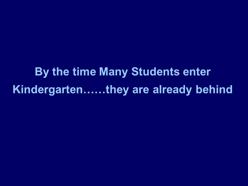 By the time Many Students enter Kindergarten……they are already behind