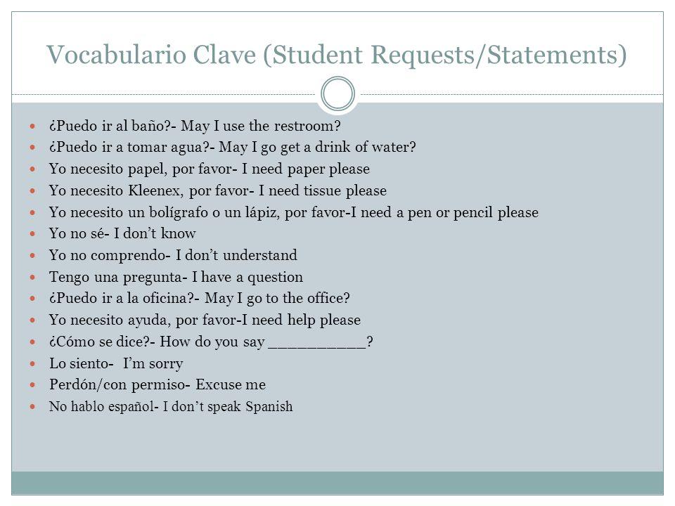 Vocabulario Clave (Student Requests/Statements) ¿Puedo ir al baño?- May I use the restroom? ¿Puedo ir a tomar agua?- May I go get a drink of water? Yo
