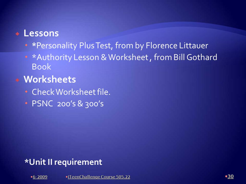  Lessons  *Personality Plus Test, from by Florence Littauer  *Authority Lesson & Worksheet, from Bill Gothard Book  Worksheets  Check Worksheet file.