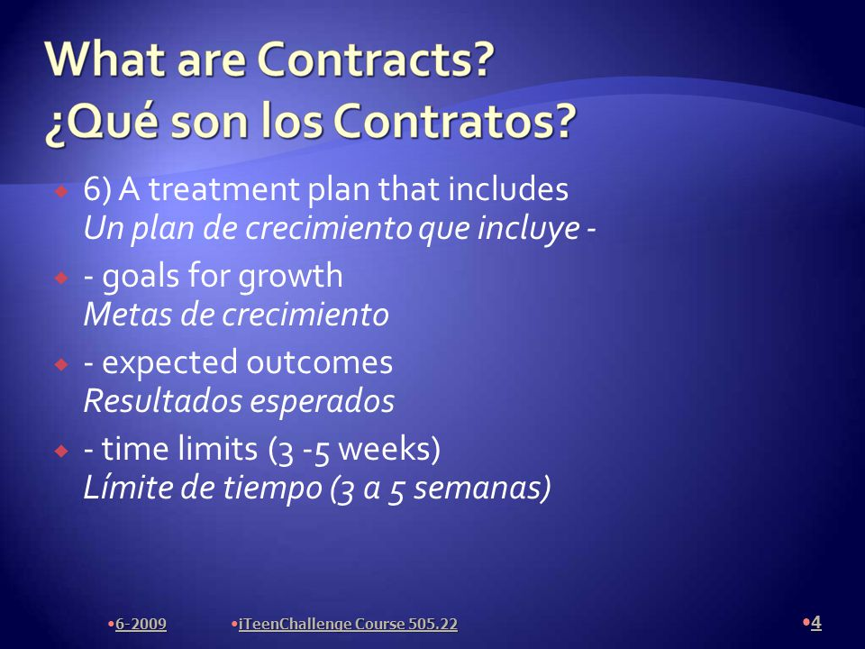  Contract Length  Contract should be 4 weeks long  Goals  Set the students goals according to their Contract Questionnaire, Contract Title, and what you have discerned by watching their behavior.