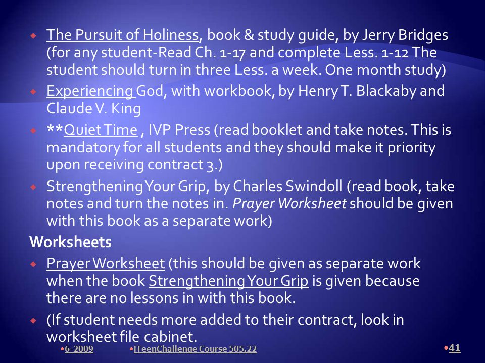  The Pursuit of Holiness, book & study guide, by Jerry Bridges (for any student-Read Ch.