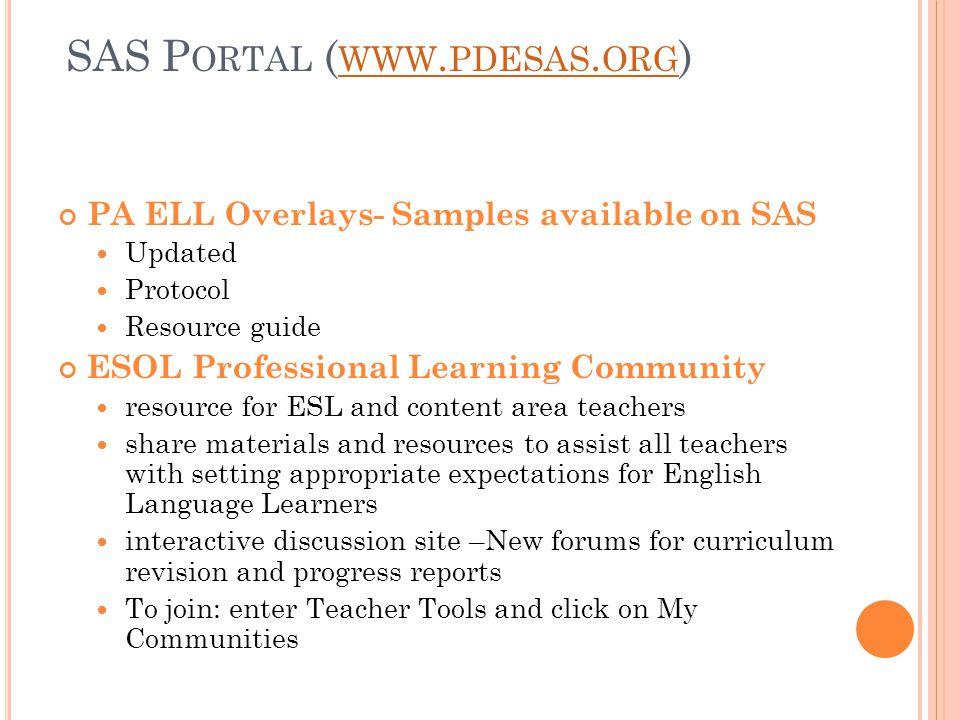 SAS P ORTAL ( WWW. PDESAS. ORG ) WWW. PDESAS.
