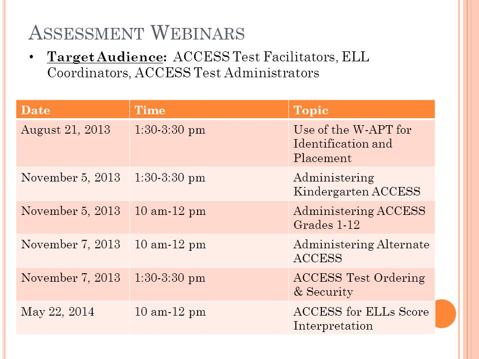 A SSESSMENT W EBINARS DateTimeTopic August 21, 20131:30-3:30 pmUse of the W-APT for Identification and Placement November 5, 20131:30-3:30 pmAdministering Kindergarten ACCESS November 5, 201310 am-12 pmAdministering ACCESS Grades 1-12 November 7, 201310 am-12 pmAdministering Alternate ACCESS November 7, 20131:30-3:30 pmACCESS Test Ordering & Security May 22, 201410 am-12 pmACCESS for ELLs Score Interpretation Target Audience: ACCESS Test Facilitators, ELL Coordinators, ACCESS Test Administrators