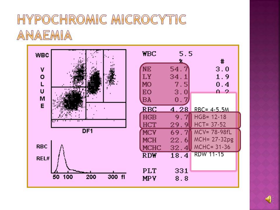 ParameterEffect Hb, HCTReduced MCV, MCH, MCHCNormal to slightly increased Haptoglobinlow BilirubinIncreased (unconjugated) Retic countHigh, polychromasia HaemoglobinaemiaPresent Hemoglobinuriapresent BM examinationHyperplastic picture