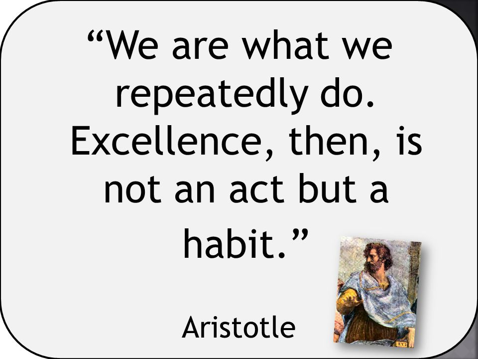 """We are what we repeatedly do. Excellence, then, is not an act but a habit."" Aristotle"