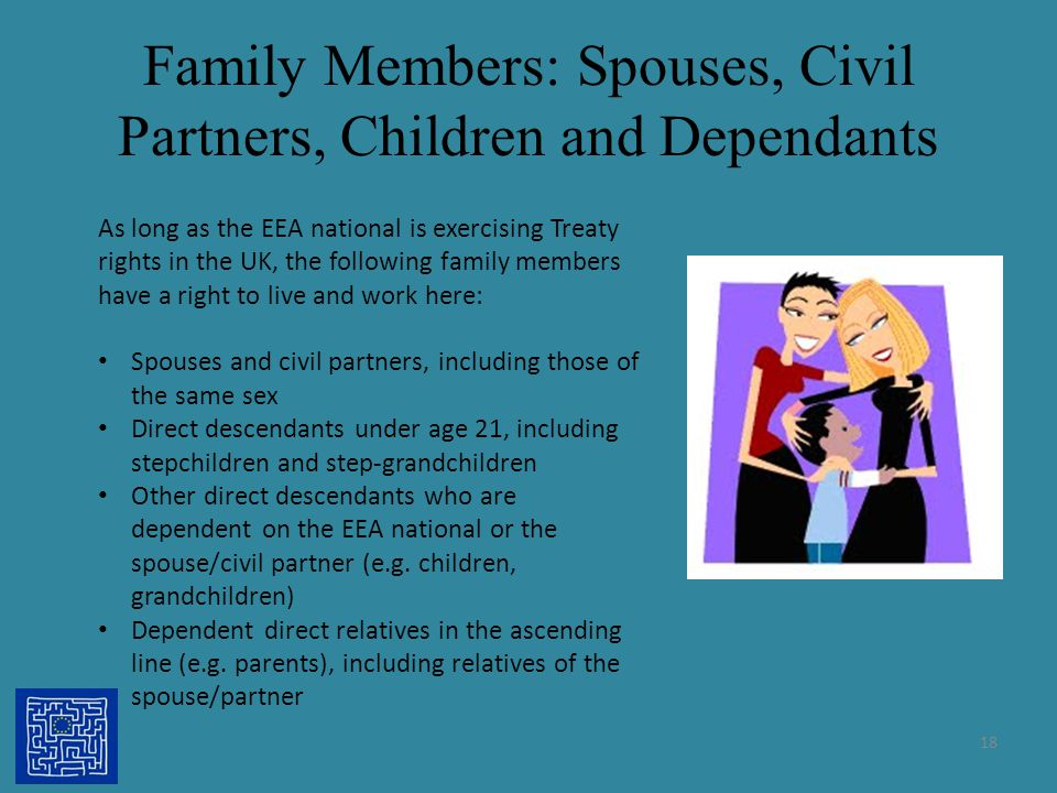 Family Members: Spouses, Civil Partners, Children and Dependants 18 As long as the EEA national is exercising Treaty rights in the UK, the following f