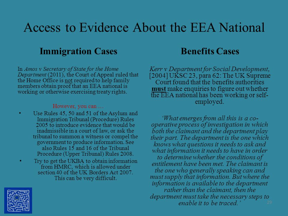 Access to Evidence About the EEA National Immigration Cases In Amos v Secretary of State for the Home Department (2011), the Court of Appeal ruled tha