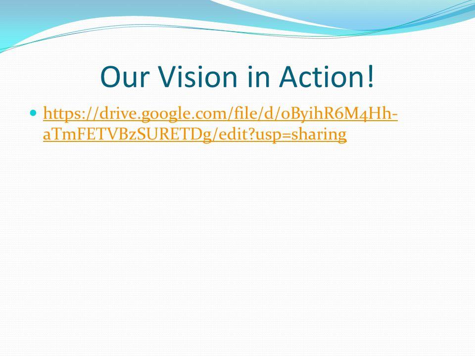 Our Vision in Action! https://drive.google.com/file/d/0ByihR6M4Hh- aTmFETVBzSURETDg/edit?usp=sharing https://drive.google.com/file/d/0ByihR6M4Hh- aTmF
