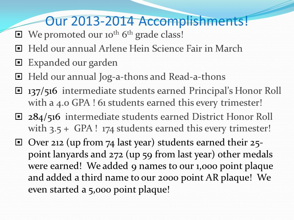 Our 2013-2014 Accomplishments!  We promoted our 10 th 6 th grade class!  Held our annual Arlene Hein Science Fair in March  Expanded our garden  H
