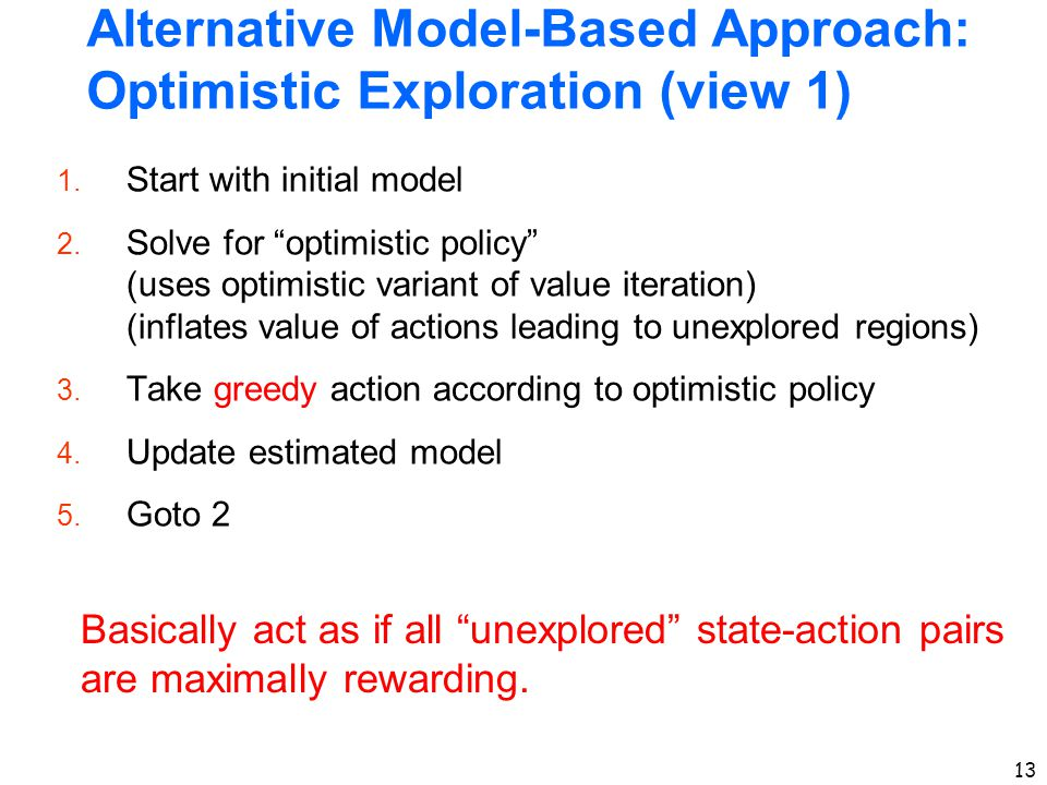 "13 Alternative Model-Based Approach: Optimistic Exploration (view 1) 1. Start with initial model 2. Solve for ""optimistic policy"" (uses optimistic var"