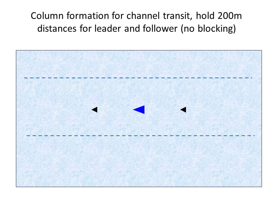 Column formation for channel transit, hold 200m distances for leader and follower (no blocking)