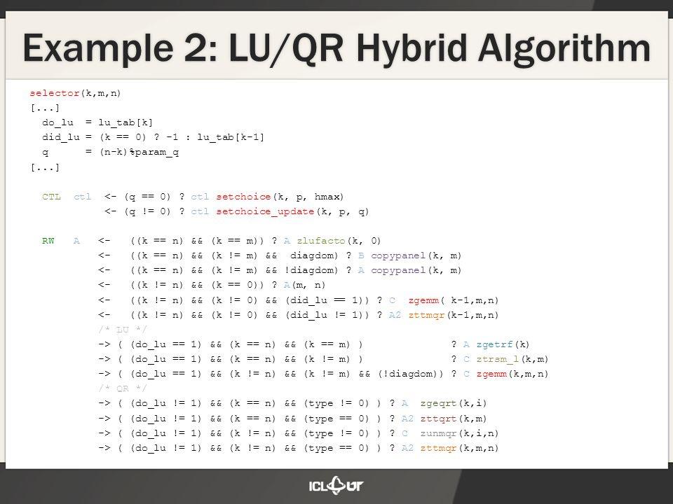 selector(k,m,n) [...] do_lu = lu_tab[k] did_lu = (k == 0) .