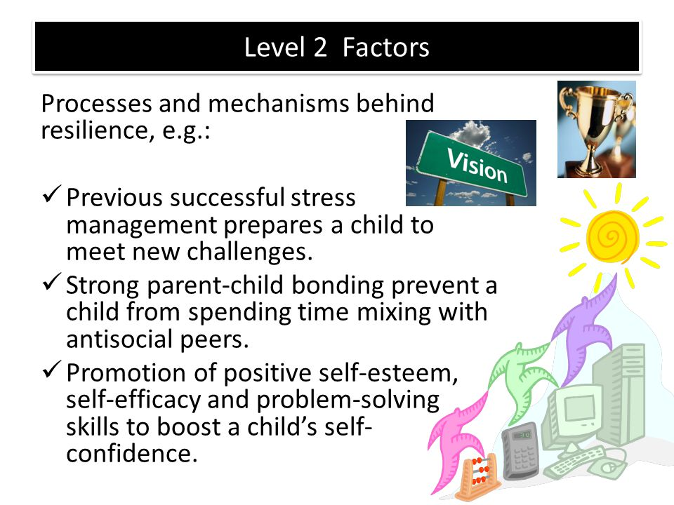 Level 2 Factors Processes and mechanisms behind resilience, e.g.: Previous successful stress management prepares a child to meet new challenges. Stron