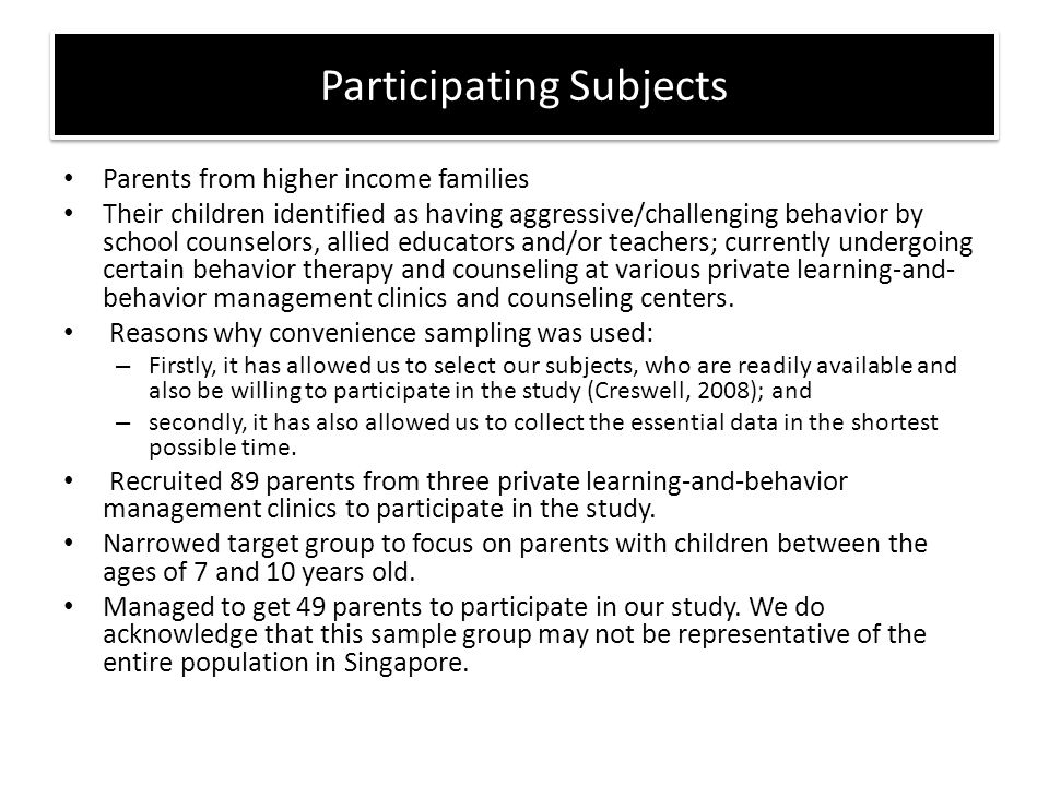 Parents from higher income families Their children identified as having aggressive/challenging behavior by school counselors, allied educators and/or